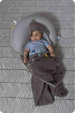 Otulacz - śpiworek z metkami | szary | Snoozebaby