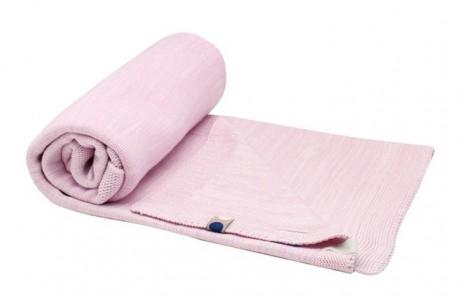 Kocyk tkany bawełniany 75x100cm | różowy | SnoozeBaby