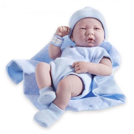 Lalka La Newborn | Chłopczyk w niebieskim ubranku z kocykiem | Berenguer