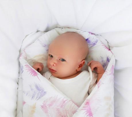 Rożek - mata niemowlęca   paprocie różowe   Lullalove