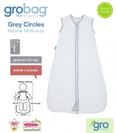 Śpiworek do spania 18-36m Gro Bag | 2,5 tog | Grey Circles Jacquard | Gro Company