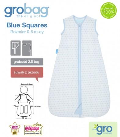 Śpiworek do spania 0-6m Gro Bag | 2,5 tog | Blue Squares Jacquard | Gro Company