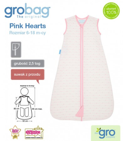 Śpiworek do spania 6-18m Gro Bag   2,5 tog   Pink Hearts Jacquard   Gro Company