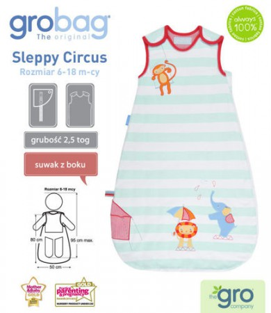 Śpiworek do spania 6-18m Grobag Travel | całoroczny 2,5 tog | Sleppy Circus | Gro Company