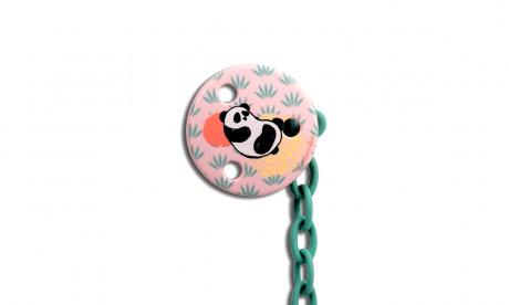 Klips okragły do smoczka | Panda | różowy | Suavinex