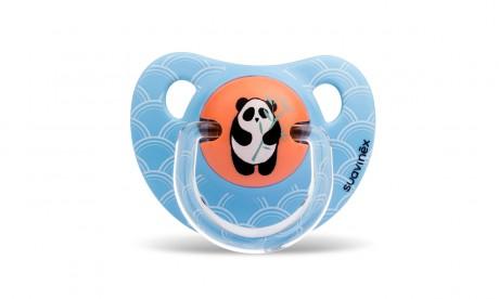 Smoczek anatomiczny silikon | 6-18m | Panda niebieski | Suavinex