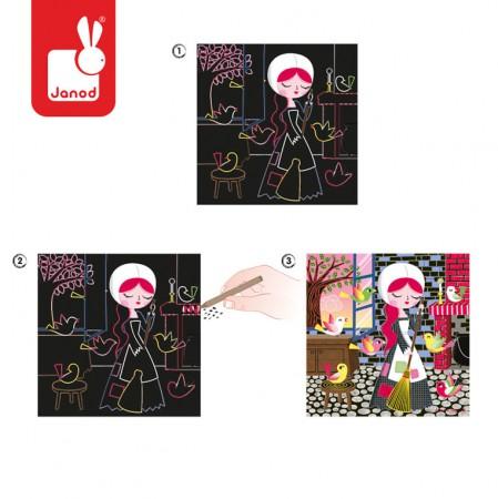Zestaw artystyczny Karty do zdrapywania Bajka o Kopciuszku | Janod