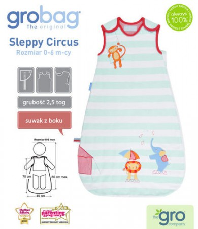 Śpiworek do spania 0-6m | całoroczny 2,5 tog | Sleppy Circus | Gro Company