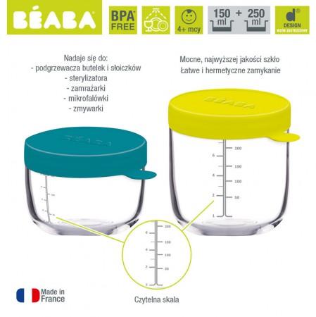 Zestaw 2 pojemników szklanych z hermetycznym zamknięciem | Beaba