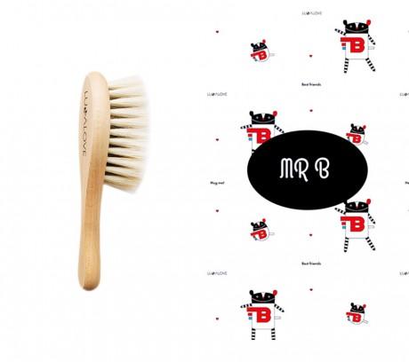 Miękka szczotka z koziego włosia z myjką muślinową | wzór myjki MRB | Lullalove