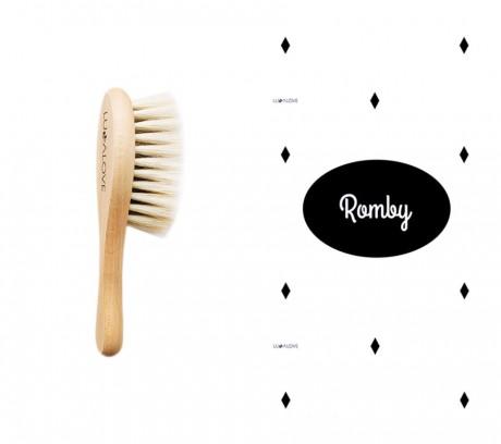Miękka szczotka z koziego włosia z myjką muślinową | wzór myjki Romby | Lullalove
