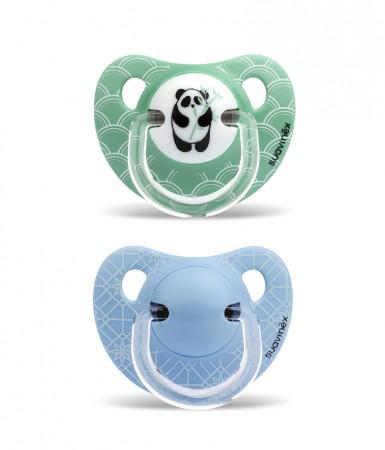 Smoczki anatomiczne silikon | 6-18m | Panda zielono-niebieskie | Suavinex