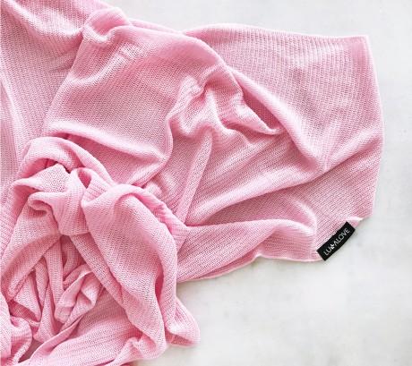 Lekki otulacz dzianinowy | 100% wiskoza bambusowa | kolor różowy | Lullalove