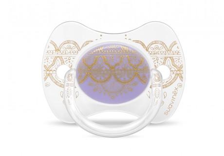 Smoczek uspokajający silikonowy   0-4 m   fioletowy   Suavinex Haute Couture