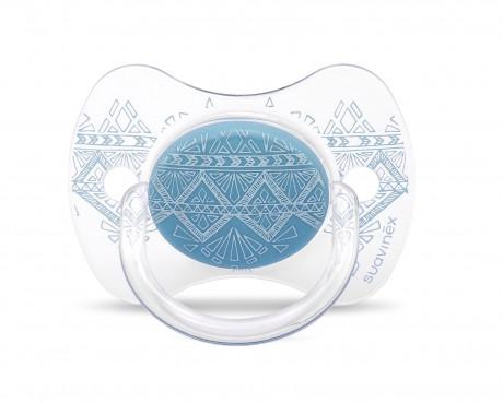 Smoczek uspokajający silikonowy   0-4 m   niebieski   Suavinex Haute Couture