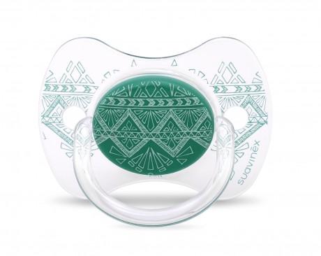 Smoczek uspokajający silikonowy | 18m+ | zielony | Suavinex Haute Couture