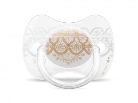 Zestaw butelka 270ml + smoczek 0-4m + klips | biały | Suavinex Haute Couture - smoczek