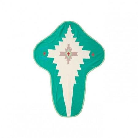 Otulacz- rożek Clever 3w1 | polar | kolor EMERALD | Lodger - tył rozłożony