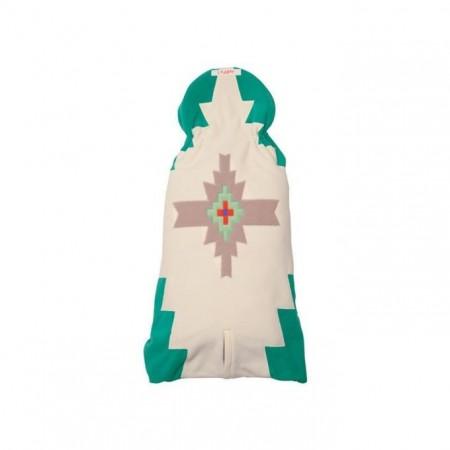 Otulacz- rożek Clever 3w1 | polar | kolor EMERALD | Lodger - tył złożony