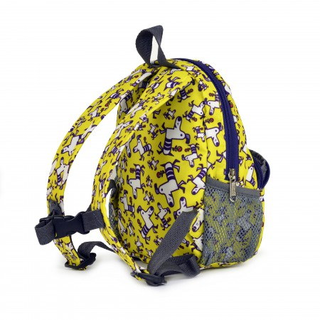 Plecak ze smyczą dla dziecka | wzór Yellow Purple Dogs | Hugger