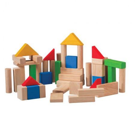 Drewniane klocki kolorowe 50 sztuk | Plan Toys