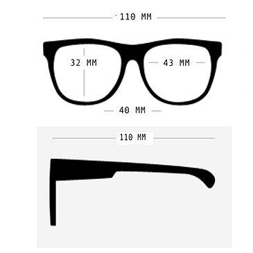 Wymiary okularów Babiators wielkość 0-2 lat