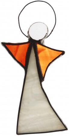 Aniołek witrażowy 8 cm | szkło pomarańczowe i białe | ręczne wykonanie