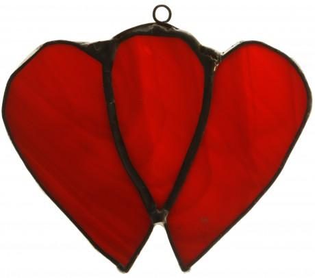 Podwójne Serce 8 cm   szkło czerwone   ręczne wykonanie