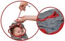 Otulacze Lodger posiadają możliwośc ściągnięcia tkaniny wokół główki dziecka aby utworzyć kapturek