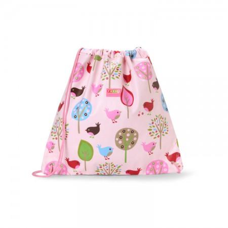 Plecak-worek wodoodporny | kolor różowy w ptaszki | Penny Scallan