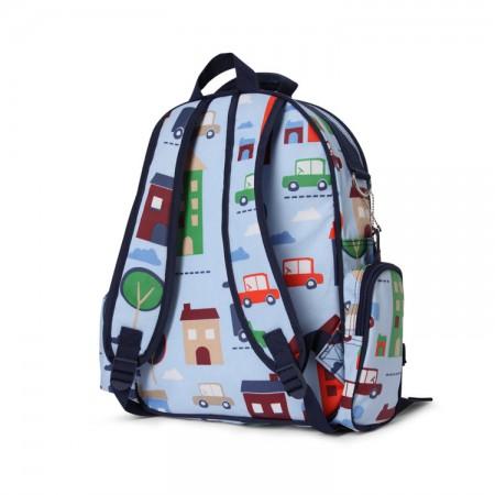Duży plecak szkolny z kieszeniami | niebieski w autka | Penny Scallan