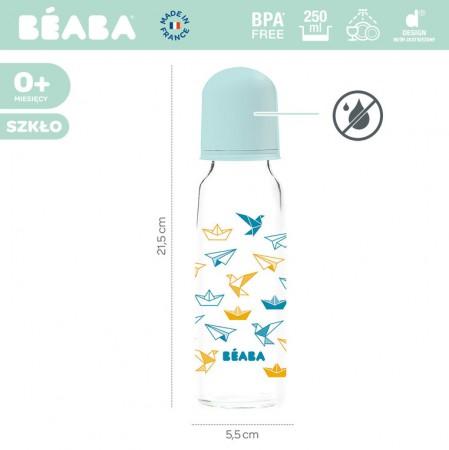 Butelka szklana 250 ml | wzór Origami blue | Beaba