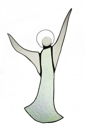 Aniołek witraż 22cm x 11cm | szkło białe połyskujace  | ręczne wykonanie