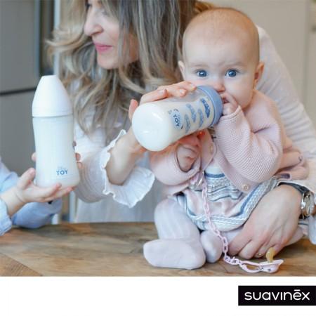 Zestaw butelka + smoczek uspokajacz + klips |różowa kaczuszka | Blue and Rose TOY