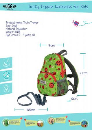 Plecak ze smyczą dla dziecka Totty Tripper S | Hugger wymiary