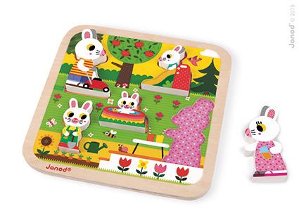 Układanka drewniana 3D Rodzina króliczków w ogrodzie   Janod