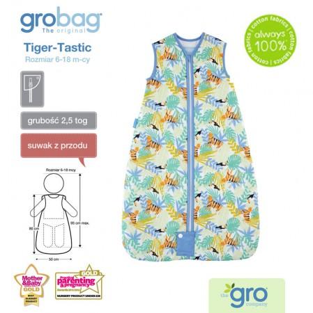 Śpiworek do spania 6-18m Gro Bag | 2,5 tog | Tiger Tastic Travel | Gro Company