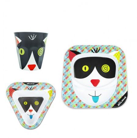 Zestaw obiadowy z melaminy 3 części | Kot Charlos | Les Deglingos