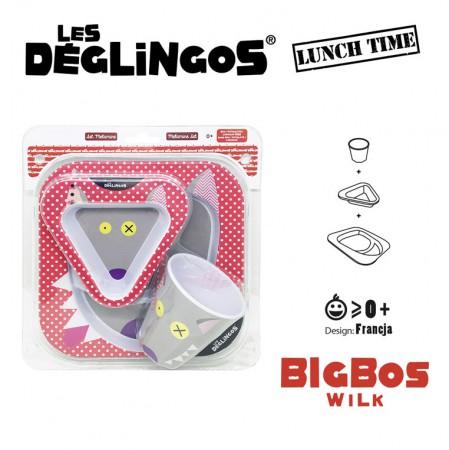 Zestaw obiadowy z melaminy 3 części   Wilk Bigbos   Les Deglingos
