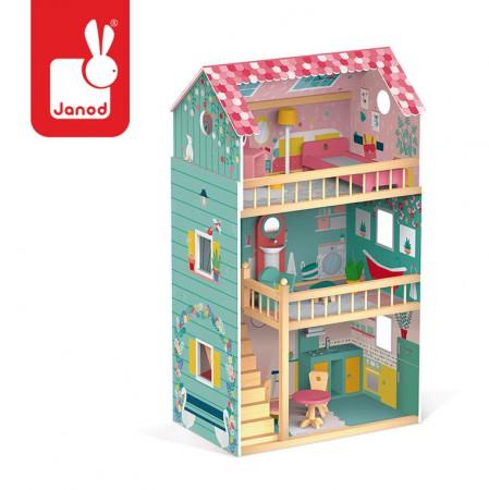 Drewniany domek dla lalek XL | 12 akcesoriów | Happy Day | Janod