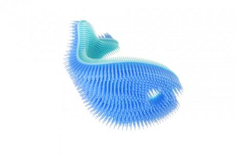 Miękka silikonowa myjka-rybka do kąpieli | niebieska | InnoBaby