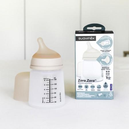 Butelka 180ml | smoczek S przepływ adaptable | Suavinex ZERO ZERO