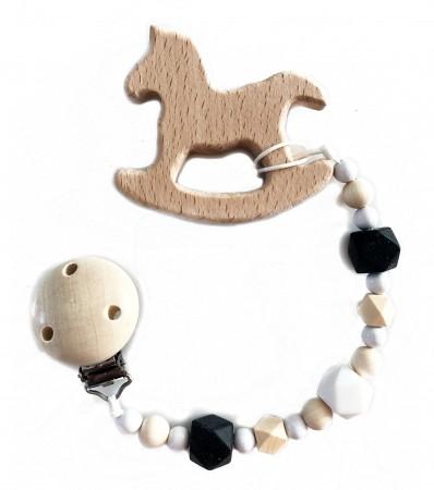 Drewniana zawieszka do smoczka i gryzak Konik | czarne i białe koraliki | Luna
