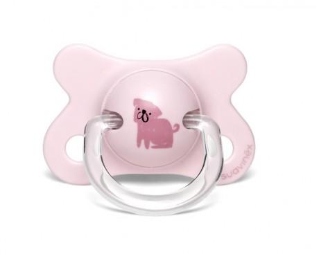 Smoczek fizjologiczny silikon | -2-4m | Pies różowy | Suavinex