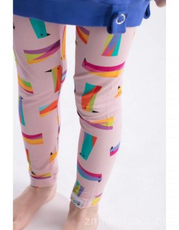Długie, różowe legginsy w papugi crazy POCKED