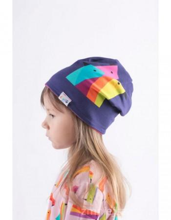 Fioletowa czapka z papugami crazy POCKET