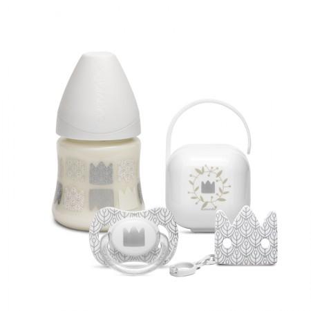 Zestaw butelka 150ml + smoczek 0-6m + klips + pudełko Swan biały | Suavinex Special Occasions