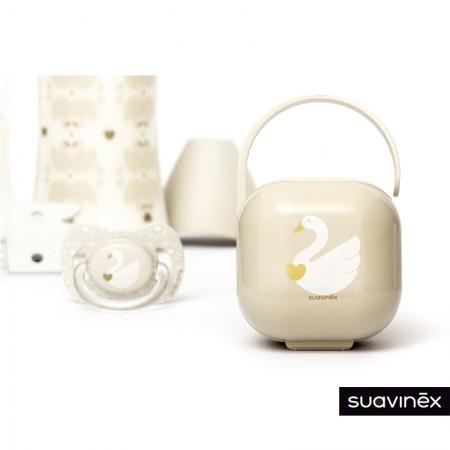 Zestaw butelka 150ml + smoczek 0-6m + klips + pudełko Swan beżowy | Suavinex Special Occasions