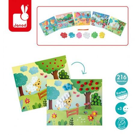Zestaw zawiera karty z rysunkami do uzupełnienia za pomocą kolorowych pomponów