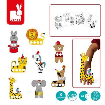 Zestaw zawiera karty z których można bez użycia nożyczek wyjąć elementy potrzebne do stworzenia cyrkowych zwierząt
